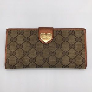 Auth Gucci GG Monogram Canvas & Leather Wallet